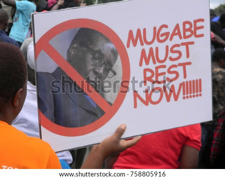 Harare,Zimbabwe,18 November 2017. A  placard  of  a  snoozing Mugabe during nationwide  anti -Mugabe  demonstrations  in solidarity with  the  military intervention..