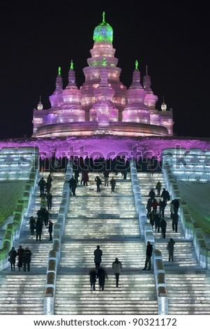 HARBIN-CHINA, JAN. 17, 2010. Staircase to palace made of ice blocks, Harbin Ice Sculpture Festival. It is one of the world's largest Ice festivals and has been held since 1963. Harbin, Jan. 17, 2010.