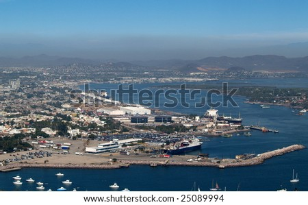 Harbor and Baja ferry dock at Mazatlan, Sonora, Mexico as viewed from the el Faro Lighthouse -  looking southeast Panorama pic 4 of 8