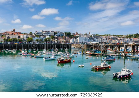 Photo of  Harbor and Skyline of Saint Peter Port, Guernsey, Channel Islands, UK