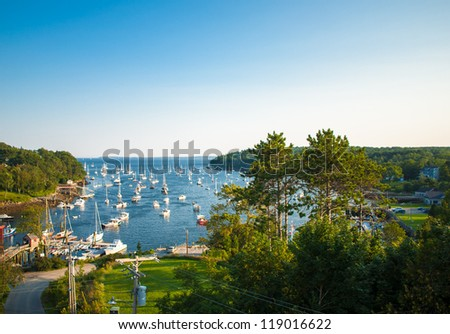 Harbor at Rockport, Maine seen from a high angle