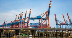Harbor cranes and Panorama in the container port of Hamburg