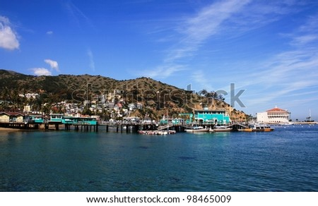 Harbor, dock, boats and casino, Avalon, Catalina Island, California