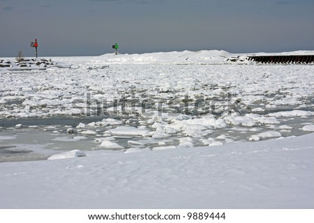 Harbor Entrance from a Frozen Lake Michigan