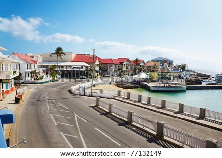 Harbor front road through Georgetown, Grand Cayman