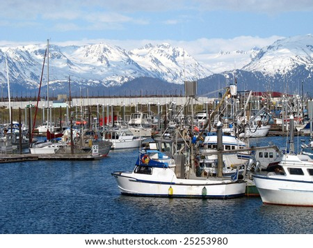 Harbor in Alaska with fishing boats