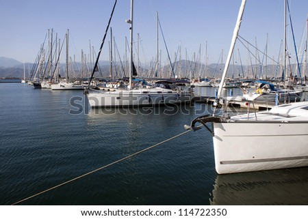 Harbor in Fethiye with boats, Turkey
