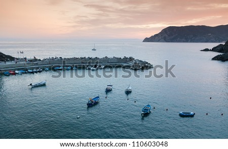 Harbor in Vernazza after sunset, Cinque Terre, Italy