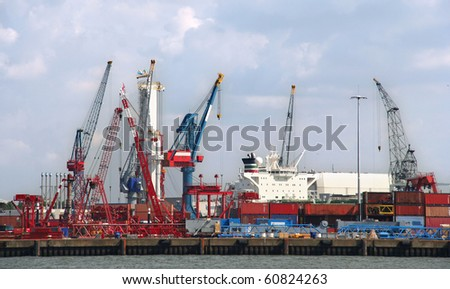 Harbor industry and cranes in Rotterdam, Holland