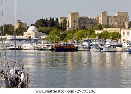 Harbor of Rhodes island in Greece
