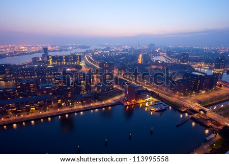 Harbor of Rotterdam at Night.