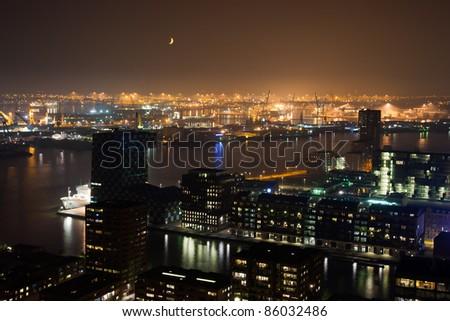 Harbor of Rotterdam at Night.