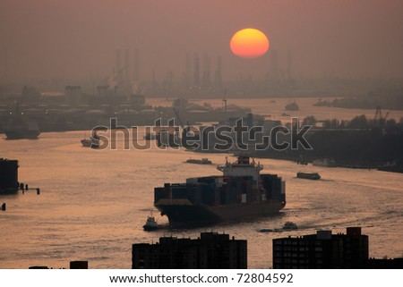 Harbor of Rotterdam at sunset