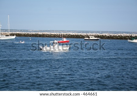 Harbor Patrol in Provincetown Surveying the Area - stock photo