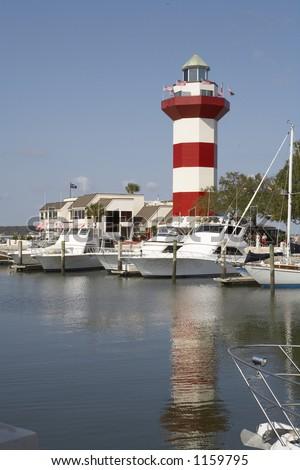 Harbor shot with boats and marina