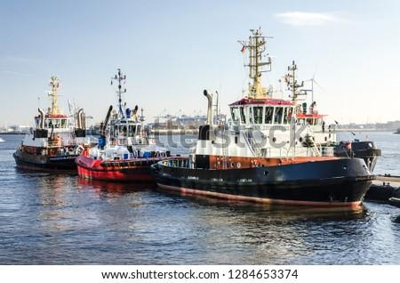 Harbor towboats at the mooring
