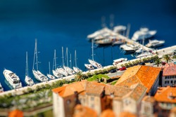 Harbor with yachts and boats in Kotor city, Montenegro
