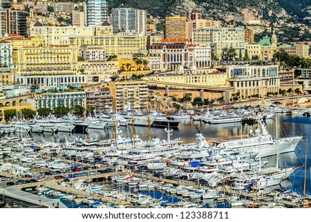 harbour city of principaute of monaco and monte carlo in the south of France