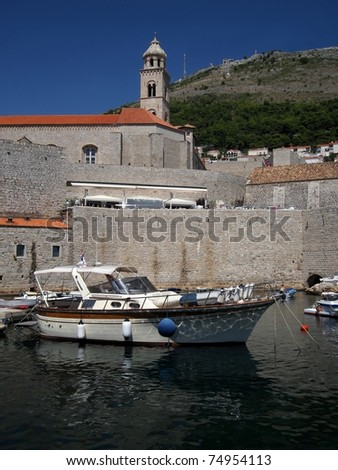 Harbour full of boats in Dubrovnik on Croatian coast area