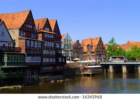 Harbour of Lueneburg, Oldtown. Lower Saxony in Germany Stock foto ©