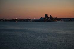 Harbour of Trois-Rivièrs, Québec, Canada at sunset