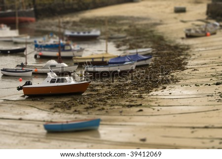 Harbour tilt shift - stock photo