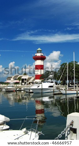 Harbour Town lighthouse over marina in Hilton Head Island, SC