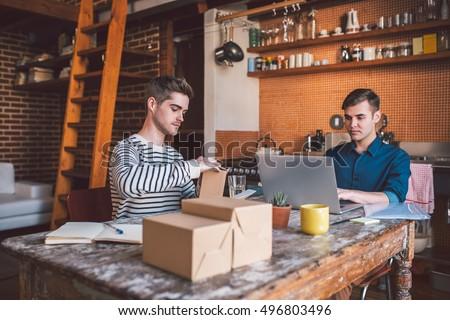 Hard at work on their home business