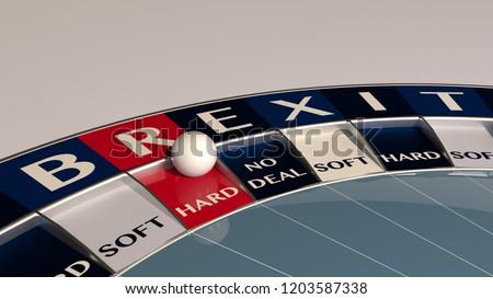 Hard brexit roulette  - concept gambling