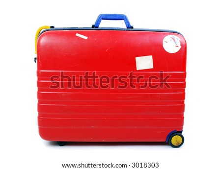 Hard case luggage on white background