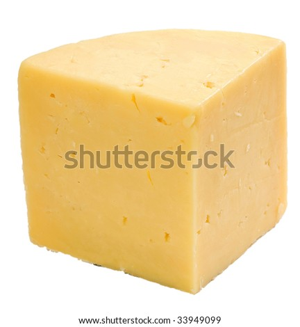 Hard cheese isolated on white