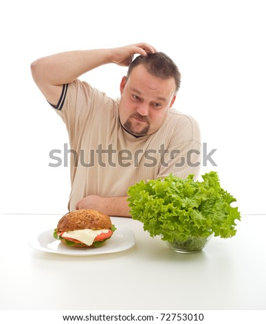 Hard diet choices concept with overweight man scratching his head - healthy or unhealthy