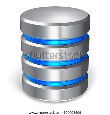 Hard disk and database icon isolated on white background