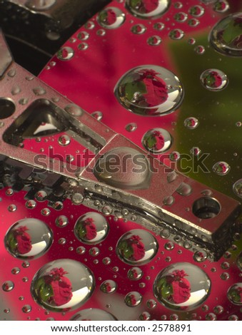 hard disk and dewdrops
