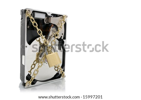 Hard disk device wrapped with chains and padlock