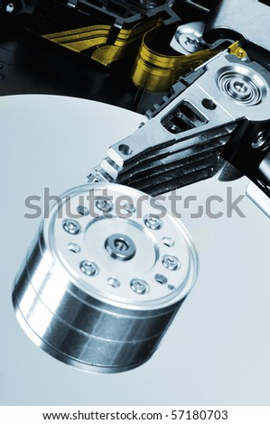 hard disk drive detail blue colored picture