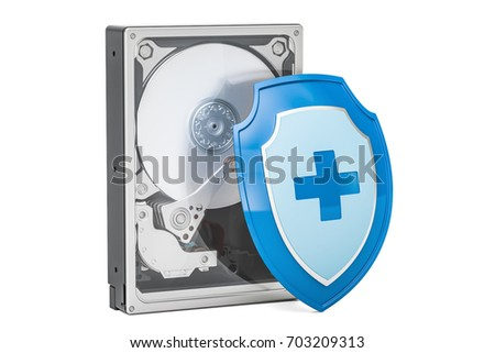 Hard Disk Drive HDD with shield. Security and protection concept, 3D rendering isolated on white background