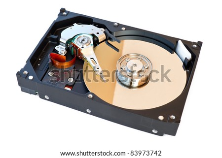Hard Disk Drive, inside of HDD isolated on white background