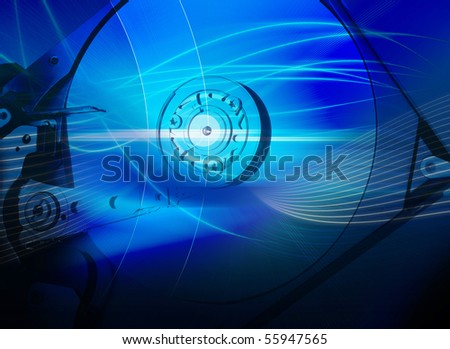 Hard disk drive with an abstract blue background