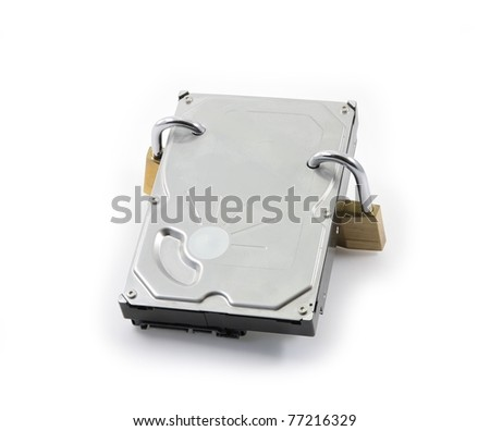 Hard disk front view with two locked padlocks on a white background