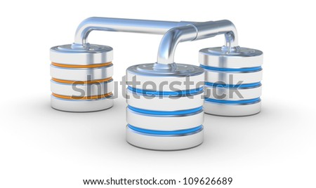 Hard disk icon, network database concept. 3d illustration on a white