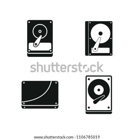 Hard disk icon set. Simple set of hard disk icons for web design isolated on white background