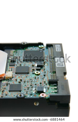 Hard disk side view, focus on chips, isolated on white background