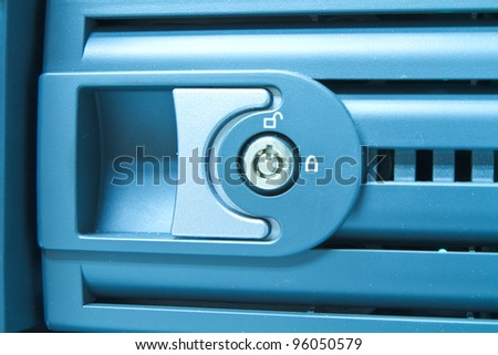hard drive cluster with security lock - stock photo