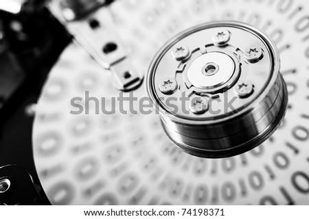 Hard drive macro image black and white