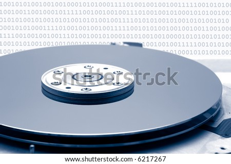 Hard drive with data composed from zeros and ones.