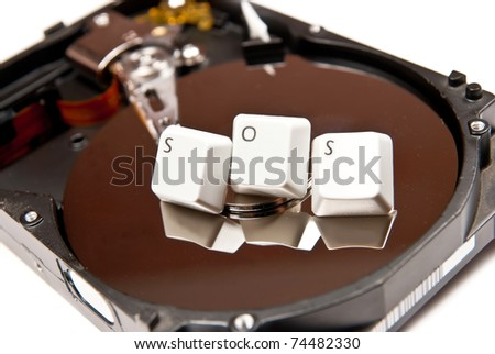 "Hard Drive with word ""sos"". On white background"
