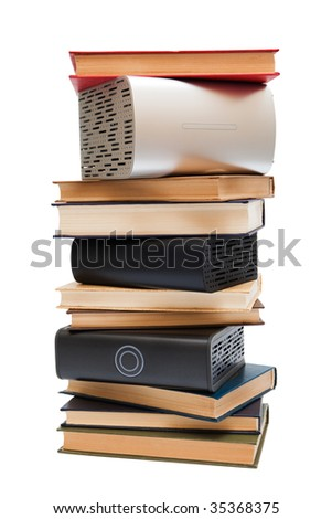 hard drives, and old books on white background