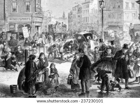 Hard frost on the streets of London, engraving from 'The Illustrated London News', 1865.