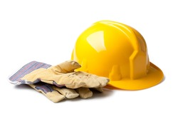 Hard Hat And Leather Gloves isolated on white